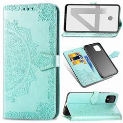 Embossing Imprint Mandala Flower Leather Wallet Case for Google Pixel 4 - Green