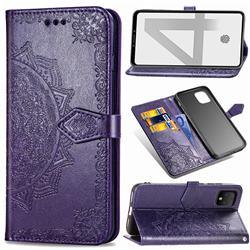 Embossing Imprint Mandala Flower Leather Wallet Case for Google Pixel 4 - Purple