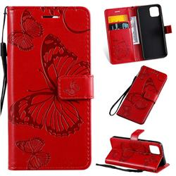 Embossing 3D Butterfly Leather Wallet Case for Google Pixel 4 - Red