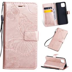 Embossing 3D Butterfly Leather Wallet Case for Google Pixel 4 - Rose Gold
