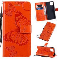 Embossing 3D Butterfly Leather Wallet Case for Google Pixel 4 - Orange