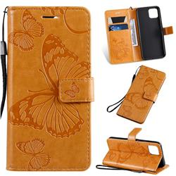 Embossing 3D Butterfly Leather Wallet Case for Google Pixel 4 - Yellow
