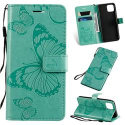 Embossing 3D Butterfly Leather Wallet Case for Google Pixel 4 - Green