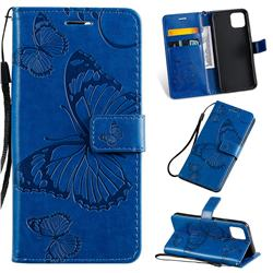 Embossing 3D Butterfly Leather Wallet Case for Google Pixel 4 - Blue
