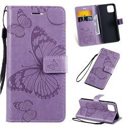 Embossing 3D Butterfly Leather Wallet Case for Google Pixel 4 - Purple