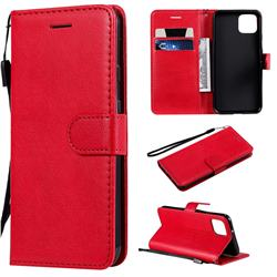 Retro Greek Classic Smooth PU Leather Wallet Phone Case for Google Pixel 4 - Red