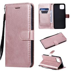 Retro Greek Classic Smooth PU Leather Wallet Phone Case for Google Pixel 4 - Rose Gold