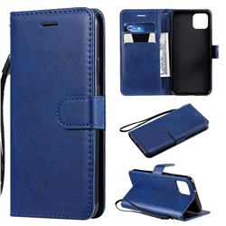 Retro Greek Classic Smooth PU Leather Wallet Phone Case for Google Pixel 4 - Blue