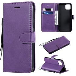 Retro Greek Classic Smooth PU Leather Wallet Phone Case for Google Pixel 4 - Purple