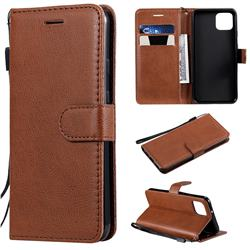 Retro Greek Classic Smooth PU Leather Wallet Phone Case for Google Pixel 4 - Brown