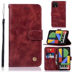 Luxury Retro Leather Wallet Case for Google Pixel 4 - Wine Red