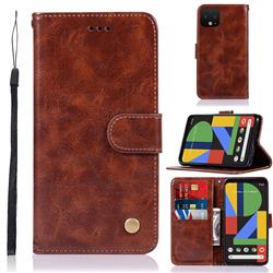 Luxury Retro Leather Wallet Case for Google Pixel 4 - Brown