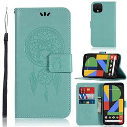Intricate Embossing Owl Campanula Leather Wallet Case for Google Pixel 4 - Green