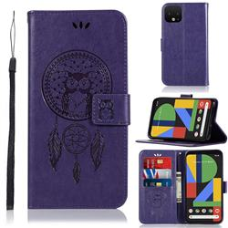Intricate Embossing Owl Campanula Leather Wallet Case for Google Pixel 4 - Purple