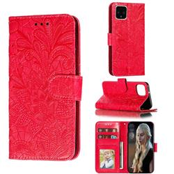 Intricate Embossing Lace Jasmine Flower Leather Wallet Case for Google Pixel 4 - Red