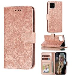 Intricate Embossing Lace Jasmine Flower Leather Wallet Case for Google Pixel 4 - Rose Gold
