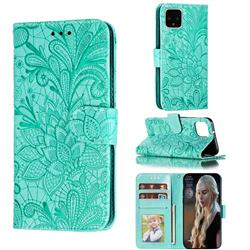 Intricate Embossing Lace Jasmine Flower Leather Wallet Case for Google Pixel 4 - Green