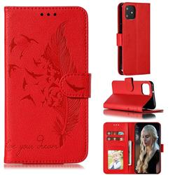Intricate Embossing Lychee Feather Bird Leather Wallet Case for Google Pixel 4 - Red