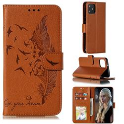 Intricate Embossing Lychee Feather Bird Leather Wallet Case for Google Pixel 4 - Brown
