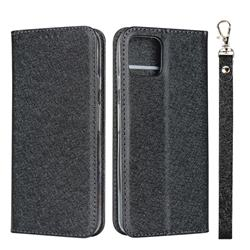 Ultra Slim Magnetic Automatic Suction Silk Lanyard Leather Flip Cover for Google Pixel 4 - Black