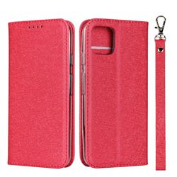 Ultra Slim Magnetic Automatic Suction Silk Lanyard Leather Flip Cover for Google Pixel 4 - Red