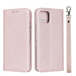 Ultra Slim Magnetic Automatic Suction Silk Lanyard Leather Flip Cover for Google Pixel 4 - Rose Gold