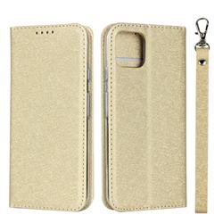 Ultra Slim Magnetic Automatic Suction Silk Lanyard Leather Flip Cover for Google Pixel 4 - Golden