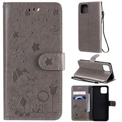 Embossing Bee and Cat Leather Wallet Case for Google Pixel 4 - Gray
