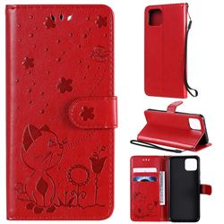 Embossing Bee and Cat Leather Wallet Case for Google Pixel 4 - Red