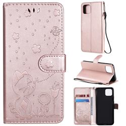 Embossing Bee and Cat Leather Wallet Case for Google Pixel 4 - Rose Gold