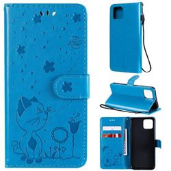 Embossing Bee and Cat Leather Wallet Case for Google Pixel 4 - Blue