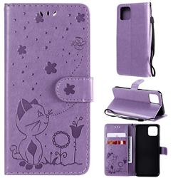 Embossing Bee and Cat Leather Wallet Case for Google Pixel 4 - Purple