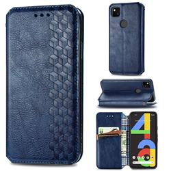 Ultra Slim Fashion Business Card Magnetic Automatic Suction Leather Flip Cover for Google Pixel 4a - Dark Blue