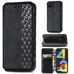 Ultra Slim Fashion Business Card Magnetic Automatic Suction Leather Flip Cover for Google Pixel 4a - Black