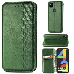 Ultra Slim Fashion Business Card Magnetic Automatic Suction Leather Flip Cover for Google Pixel 4a - Green