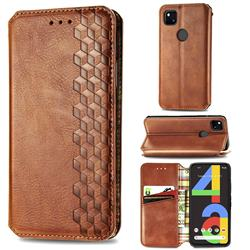 Ultra Slim Fashion Business Card Magnetic Automatic Suction Leather Flip Cover for Google Pixel 4a - Brown