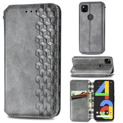 Ultra Slim Fashion Business Card Magnetic Automatic Suction Leather Flip Cover for Google Pixel 4a - Grey