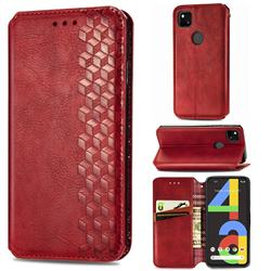Ultra Slim Fashion Business Card Magnetic Automatic Suction Leather Flip Cover for Google Pixel 4a - Red