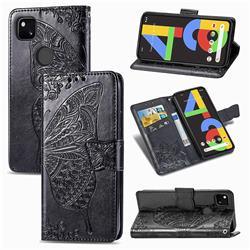 Embossing Mandala Flower Butterfly Leather Wallet Case for Google Pixel 4a - Black