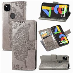 Embossing Mandala Flower Butterfly Leather Wallet Case for Google Pixel 4a - Gray
