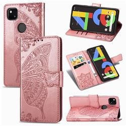 Embossing Mandala Flower Butterfly Leather Wallet Case for Google Pixel 4a - Rose Gold