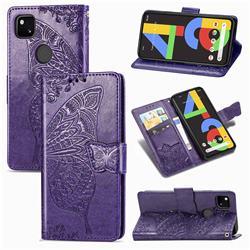 Embossing Mandala Flower Butterfly Leather Wallet Case for Google Pixel 4a - Dark Purple