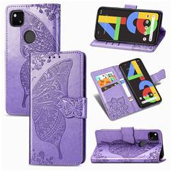 Embossing Mandala Flower Butterfly Leather Wallet Case for Google Pixel 4a - Light Purple