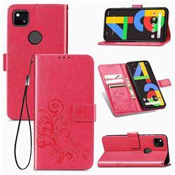 Embossing Imprint Four-Leaf Clover Leather Wallet Case for Google Pixel 4a - Rose Red
