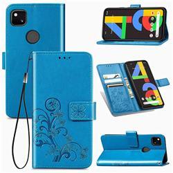 Embossing Imprint Four-Leaf Clover Leather Wallet Case for Google Pixel 4a - Blue