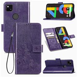Embossing Imprint Four-Leaf Clover Leather Wallet Case for Google Pixel 4a - Purple