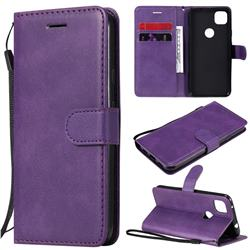 Retro Greek Classic Smooth PU Leather Wallet Phone Case for Google Pixel 4a - Purple