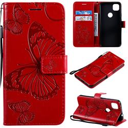 Embossing 3D Butterfly Leather Wallet Case for Google Pixel 4a - Red