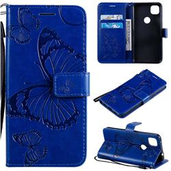 Embossing 3D Butterfly Leather Wallet Case for Google Pixel 4a - Blue