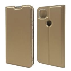 Ultra Slim Card Magnetic Automatic Suction Leather Wallet Case for Google Pixel 4a - Champagne